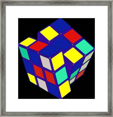 Rubik's Cube Pop Art Framed Print by Florian Rodarte