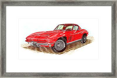 Ruby Red 1966 Corvette Stingray Fastback Framed Print