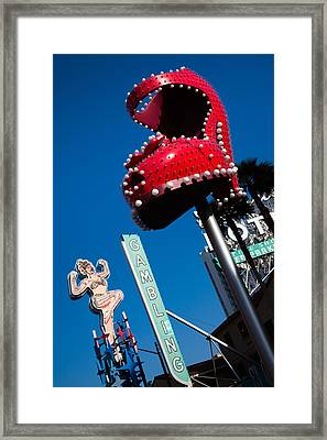Ruby Slipper Neon Sign In A City, El Framed Print
