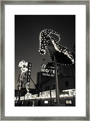 Ruby Slipper Neon Sign Lit Up At Dusk Framed Print