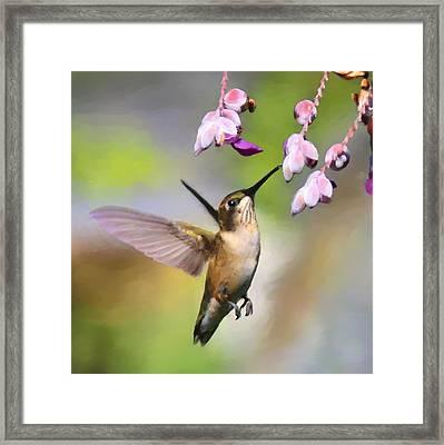 Ruby-throated Hummingbird - Digital Art Framed Print by Travis Truelove