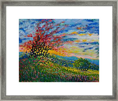 Ruby Tree Ablaze Framed Print