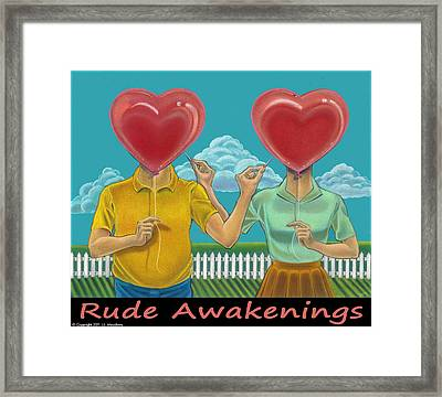 Framed Print featuring the mixed media Rude Awakenings With Caption by J L Meadows