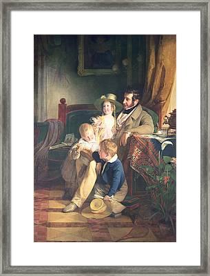 Rudolf Von Arthaber 1795-1867 With His Children Rudolf, Emilie And Gustav Looking At The Portrait Framed Print by Friedrich von Amerling