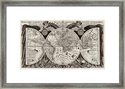 Rudolphine Tables World Map Framed Print by Library Of Congress