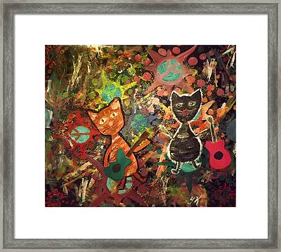 Rudy And Sketch Electric Cats Framed Print by Yvonne  Kroupa