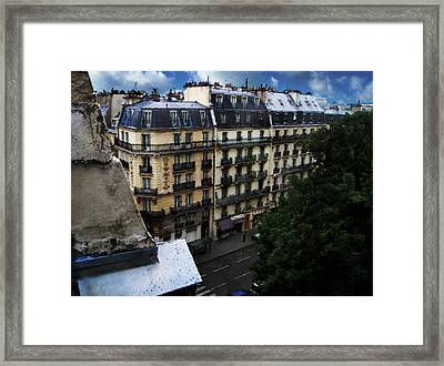 Rue Des Ecoles In Paris France From The 6th Floor Balcony Of The Henri Iv Hotel Framed Print by David Blank