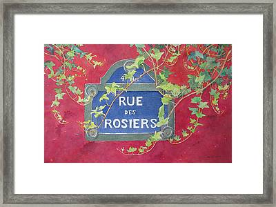 Rue Des Rosiers In Paris Framed Print by Mary Ellen Mueller Legault
