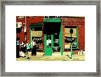 Rue Fairmount Wilensky Diner Cafe Feeding The Parking Meter Montreal Street Scene Carole Spandau Framed Print by Carole Spandau