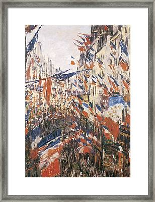 Rue Montorgeuil Decked With Flags Framed Print by Claude Monet