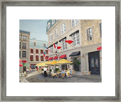 Framed Print featuring the painting Rue Saint Amable Restaurant by Marilyn Zalatan