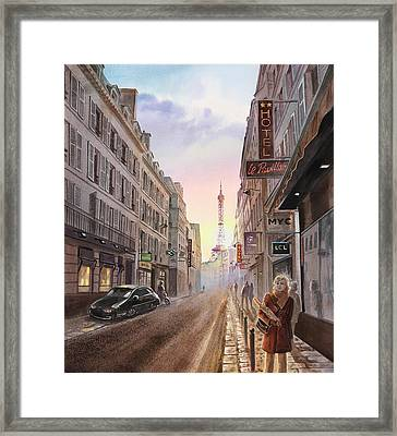 Rue Saint Dominique Sunset Through Eiffel Tower   Framed Print