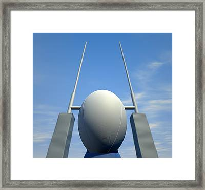 Rugby Ball Closeup Infront Of Posts Framed Print