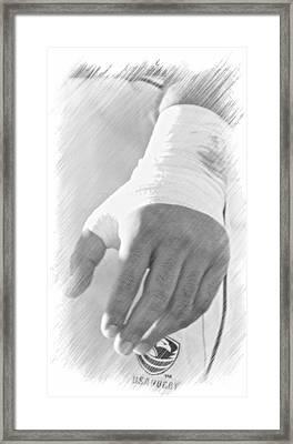 Rugby Hands Framed Print by Evan Premer