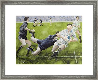 Rugby Match England V New Zealand In The World Cup, 1991, Rory Underwood Being Tackled Wc Framed Print by Gareth Lloyd Ball