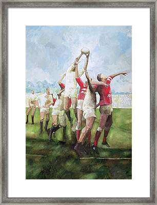 Rugby Match Llanelli V Swansea, Line Out Framed Print by Gareth Lloyd Ball