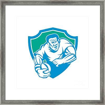Rugby Player Running Ball Shield Linocut Framed Print