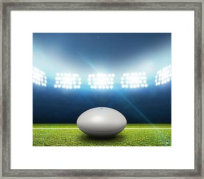 Rugby Stadium And Ball Framed Print by Allan Swart