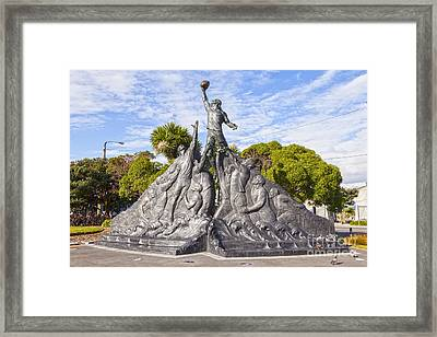 Rugby World Cup Sculpture Wellington New Zealand Framed Print by Colin and Linda McKie
