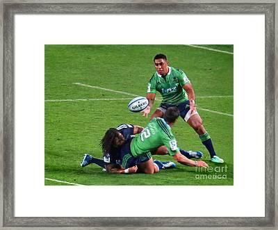 Rugby.blues.gilbert Ball..nz Framed Print by Jennie Breeze