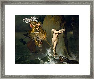 Ruggiero Rescuing Angelica Framed Print by Jean-Auguste-Dominique Ingres