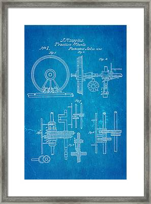 Ruggles Traction Wheels Patent 1836 Blueprint Framed Print by Ian Monk