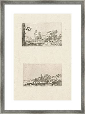 Ruin Converted To A Farmhouse And Hikers In The Dunes Framed Print by Gillis Scheyndel I