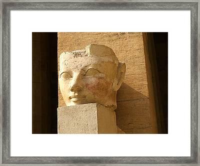 ruined head of Hatshepsut Framed Print by Brenda Kean