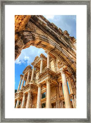 Ruined Library In Ephesus  Framed Print by Laura Palmer