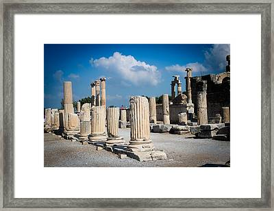 Ruined Marble Columns In Turkey Framed Print by Laura Palmer