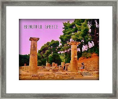 Ruins At Olympus Greece Framed Print by John Malone