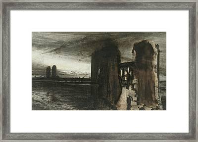 Ruins In A Landscape Framed Print by Victor Hugo