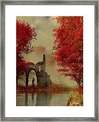 Ruins In Autumn Fog Framed Print by Daniel Eskridge