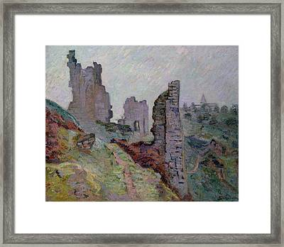 Ruins In The Fog At Crozant Framed Print by Jean Baptiste Armand Guillaumin
