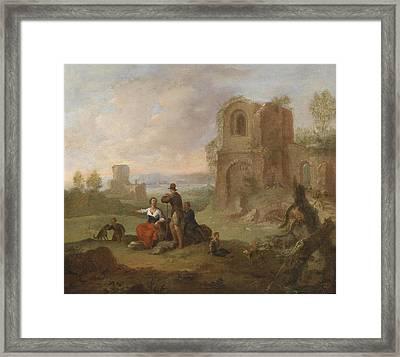 Ruins Landscape With Locking Hikers Framed Print by Franz de Paula Ferg
