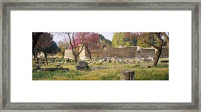 Ruins Of A Building, Ancient Olympia Framed Print by Panoramic Images
