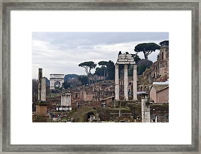 Ruins Of A Building, Roman Forum, Rome Framed Print