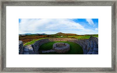 Ruins Of A Fort, Cahergall Stone Fort Framed Print by Panoramic Images
