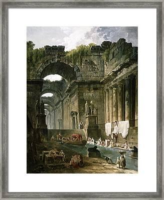 Ruins Of A Roman Bath With Washerwomen Framed Print by Hubert Robert