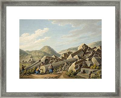Ruins Of A Roman Temple At Ephesus Framed Print by Gaetano Mercati