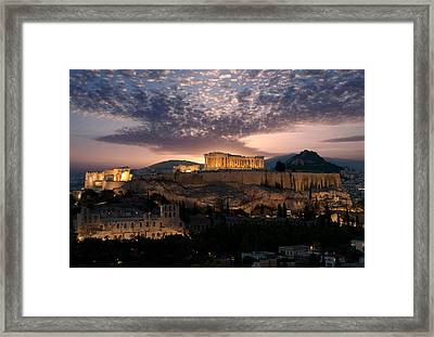 Ruins Of A Temple, Athens, Attica Framed Print