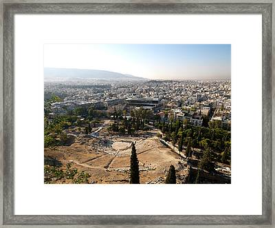 Ruins Of A Theater With A Cityscape Framed Print