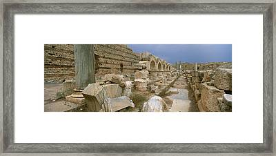 Ruins Of Ancient Roman City, Leptis Framed Print by Panoramic Images