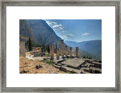 Ruins Of Apollos Temple And The Valley Of Phocis Framed Print