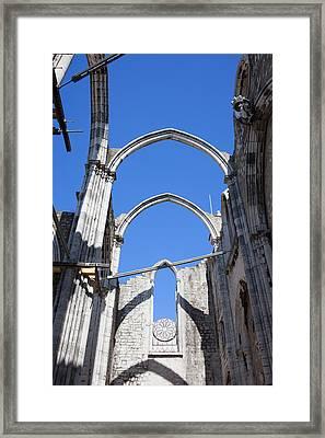 Ruins Of Carmo Gothic Church In Lisbon Framed Print by Artur Bogacki