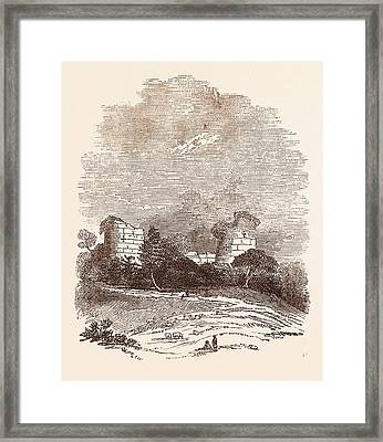 Ruins Of Chartley Castle, Once Possessed By Robert Framed Print by English School