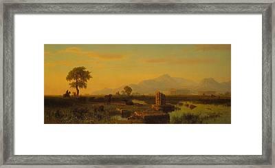 Ruins Of Paestum Framed Print by Albert Bierstadt