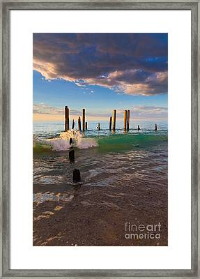 Ruins Of The Old Port Willunga Jetty Framed Print by Bill  Robinson