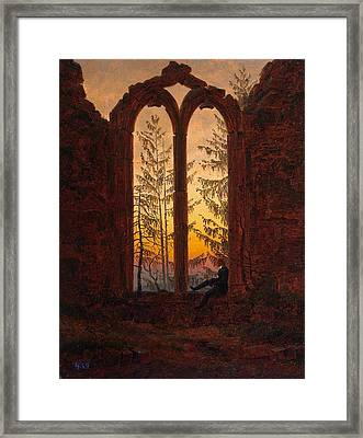 Ruins Of The Oybin Monastery The Dreamer Framed Print by Philip Ralley