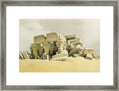 Ruins Of The Temple Of Kom Ombo Framed Print by David Roberts